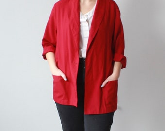 vintage plus size blazer | red plus size oversized jacket, XL