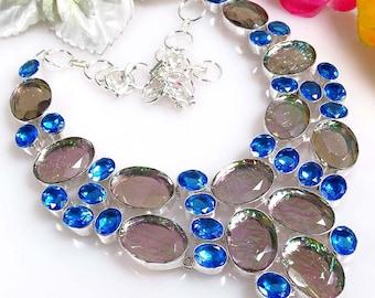 Handmade Necklace, Australian Triplet Opal And London Blue Topaz Gemstone, 925 Sterling Silver Jewelry.