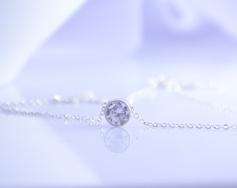 Floating Necklace, CZ Necklace, Floating CZ Necklace