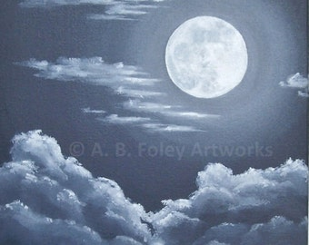 "Night Sky Painting: Original Acrylic Painting of Full Moon and Clouds, Night Skyscape, Moon Art, Original Art on Canvas, Black, Gray 10""X10"""