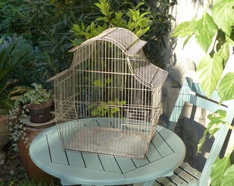 LARGE French Vintage Wire Birdcage - Shabby Chic Birdcage - Bird Cage - French Interior Design - Plant Display - Romantic French Garden