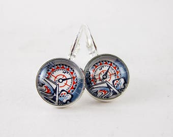 Nautical Compass Leverback Earrings, Vintage 1978 Portugal Postage Stamp Jewelry, Nickel Free Silver, Red & Blue, Unique Gift Under 30