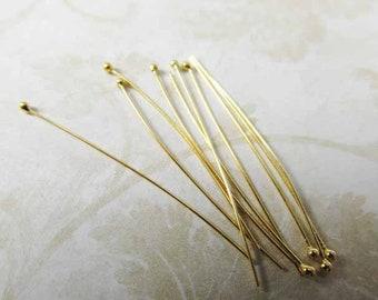 Bali 24k Gold Vermeil 40mm 26 gauge Ball Tipped Headpins (10 pieces)