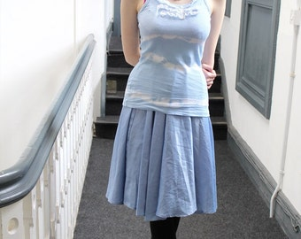 Blue long Vest Top White Frills Pretty Kitsch Tie Dye boho