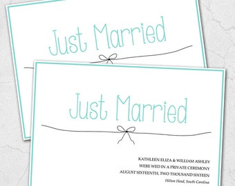 Custom Printable Wedding Elopement Announcements