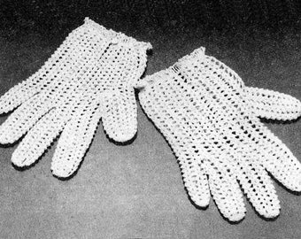 Crochet Pattern For Lacy Gloves - PDF Pattern Download - Pattern For Feminine Lacy Gloves For Proms Or Weddings