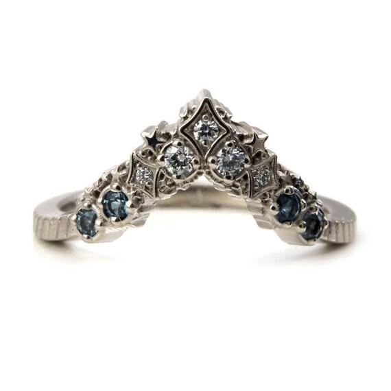 Diamond Stardust Chevron Wedding Band with London Blue & Swiss Blue Topaz