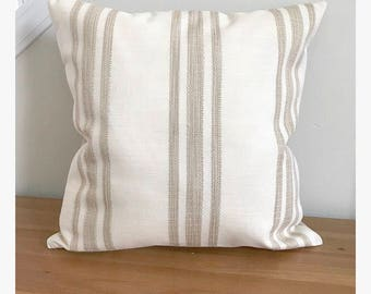 Pillow Cover, Cream Pillow Cover, Tan pillow cover, Striped pillow cover, Neutral pillow cover, Textured Pillow Cover
