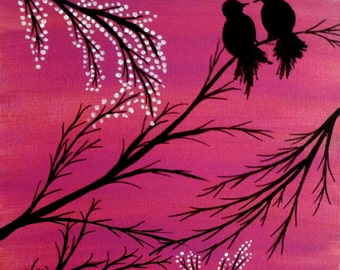 Love birds painting Acrylic painting canvas art Pink background Birds silhouette Wall decor wall art Birds on a branch gift Christmas sale