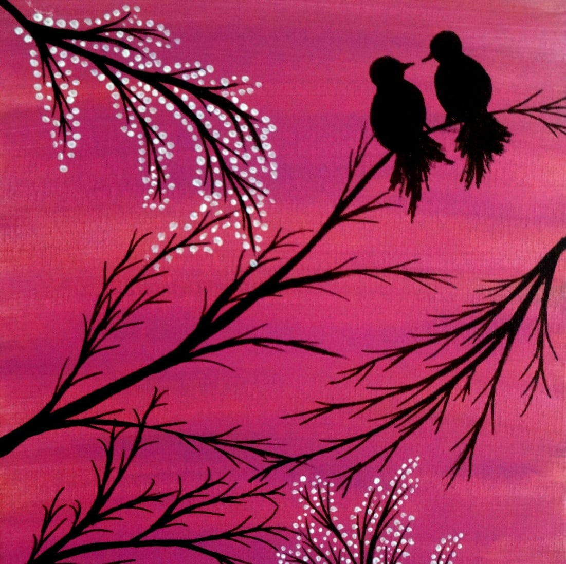 ?zoom  sc 1 st  Etsy & Love birds painting Acrylic painting canvas art Pink