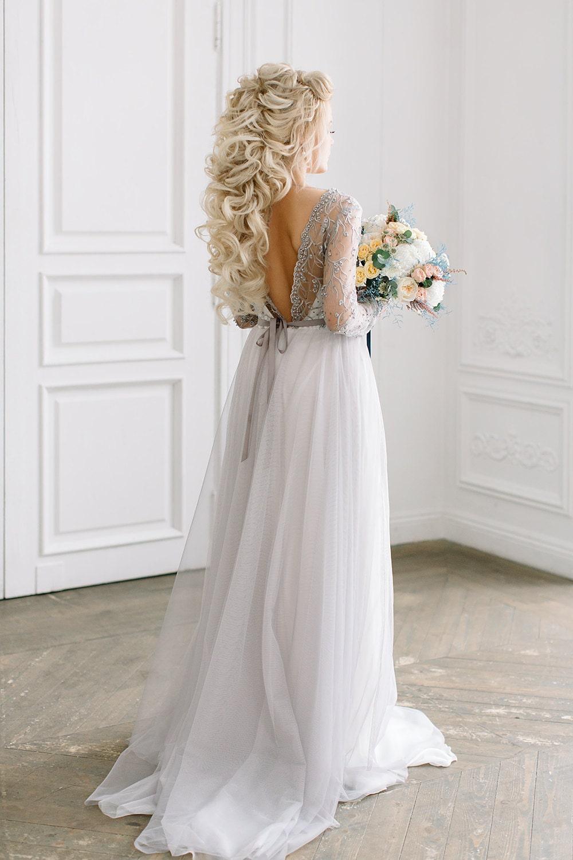 Graue Spitze Brautkleid VERA / Hochzeit Kleid mit