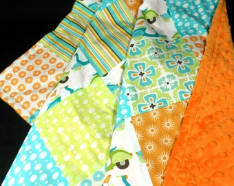 Clearance Sale - Everything must go! Free shipping!! One of a Kind Minky Blanket - Mod Scooters and Stripes - Aqua Orange -Ready to Ship!