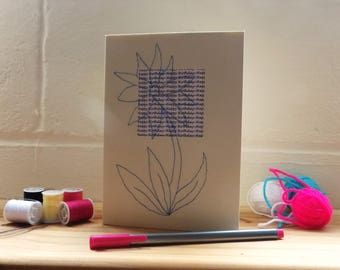 Stitched Birthday Flower Card, Cream and Blue Greetings Card, Blank Card.