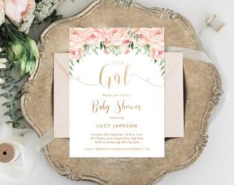 Baby Shower Invitation, Girl Baby Shower Invite, Baby Shower, Floral Baby Shower, Pink Floral, Rose Gold, Baby Shower, Girl, Boho