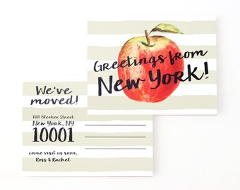 New York Moving Announcement Cards Change of Address Postcards Greetings from NYC Moving Cards We've Moved New Home Cards Watercolor Apple