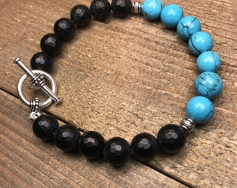 Mens beaded bracelet, mens bracelet, beaded bracelet, toggle clasp bracelet, jewelry, gifts for men, stackable bracelet,