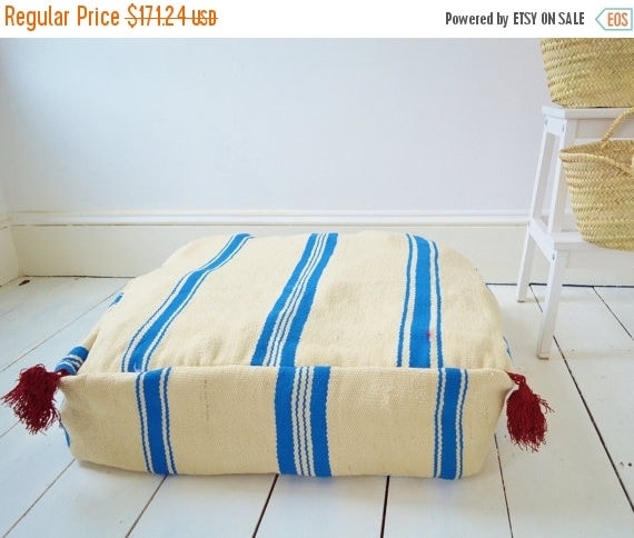 30% OFF Pouf Sale// White with Blue Kilim Moroccan Floor Cushion Pouf -home gifts, wedding gifts, anniversary, gifts, home decor
