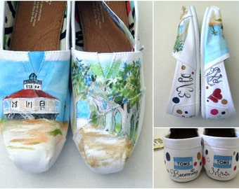 Bride's Love Story Wedding Shoes Custom Painted Shoes Unique Wedding Shoes Custom TOMS Wedding Flats Painted Wedding TOMS Beach Wedding