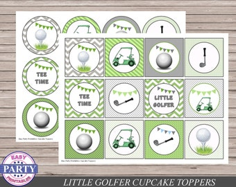 Golf Party Cupcake Toppers, Instant Download, green, Golfing, boy birthday, Little golfer party, golf party decor, golf cart, golf