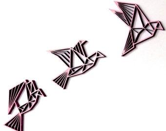 Three birds, flying - wood motiv