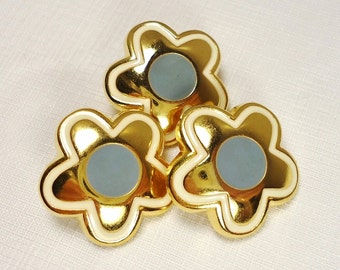 """Grey-Eyed Daisies: 7/8"""" (22mm) High Quality Metal & Enamel Flower Buttons - Set of 3 New / Unused Matching Buttons"""