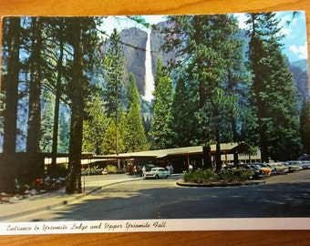 Yosemite Vintage 1950's Postcard - California USA National Park Falls Lodge Card