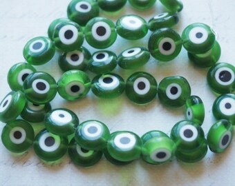 3 green/white/black 10mm Devil Eye glass beads