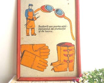 Old Vintage sheet Sign / board warning sign  / industrial workers sign / caution sign / collectible sign /