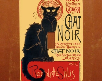 Chat Noir -- Vintage Black Cat Advertising Poster Light Switch Cover -- Oversized (Multiple Styles)