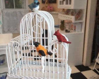 Miniature Bird Figurines, Song Birds, 3 PC Set, Dollhouse Miniatures, 1:12 Scale, Mini Cardinal, Blue Jay, Miniature Birds, Bird Figurines