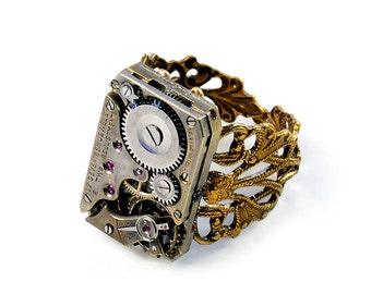 Steampunk Vintage Helbros Watch Movement Adjustable Ring