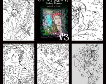 adult coloring, #3 fairy coloring pages, 5 page pdf...Fairy Forest by Nashana Webb