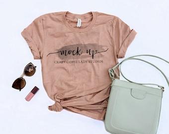 Bella and Canvas | 3001 | Heather Peach | Unisex Jersey Short-Sleeve T-Shirt | Shirt Mockup | Shirt Flat Lay | Bella Canvas | Flatlay