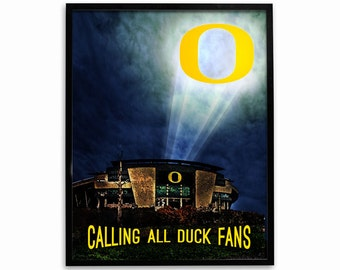 Oregon Ducks Football Poster Calling All Duck Fans Authentic Team Spiri Store Product