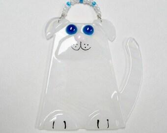 White Glass  Suncatcher / Ornament Fused Glass
