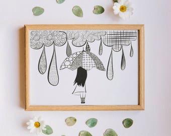 Girl with umberella Zendoodle, Zentangle, Digital print