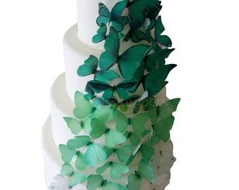 EDIBLE CAKE TOPPERS  Green Ombre Edible Butterflies, Winter Wedding Cake, Cake Decoration, Emerald, Forest Green, Rustic Wedding Cake Topper