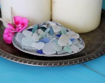 Mermaid Style , Boho Beach Sea glass Clam Shell , Beach House Decor , Coastal Decoration