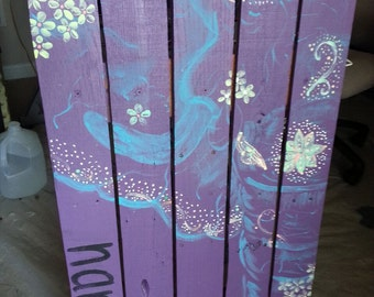 Purple Tribal Elephant on Recycled Pallet Wood