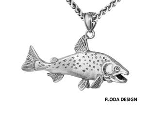 Coho Salmon 3D Pendant Necklace in Sterling Silver, Fish Jewelry FD-4-11