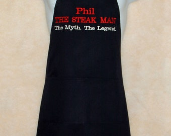 The Steak Man Apron, Man, Myth, Legend, Custom Personalize Birthday Gift, For Boss, Dad, Husband, Lover, Partner, Ships TODAY, AGFT 233