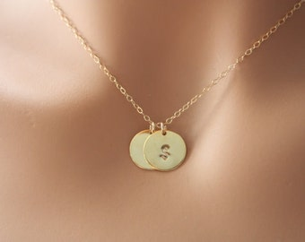 Personalized Gold Filled Necklace, Customize Two Initial Disk 12mm,  Monogram family jewelry, Simple daily everyday wear, Mom's necklace