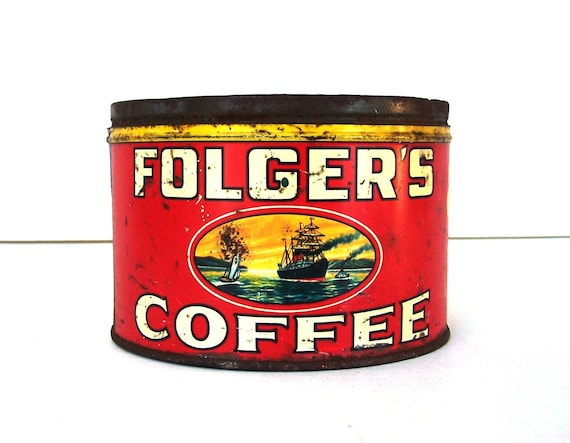 Folger s© Coffee Tin Can 1 lb 1930s Kitchen Collectible