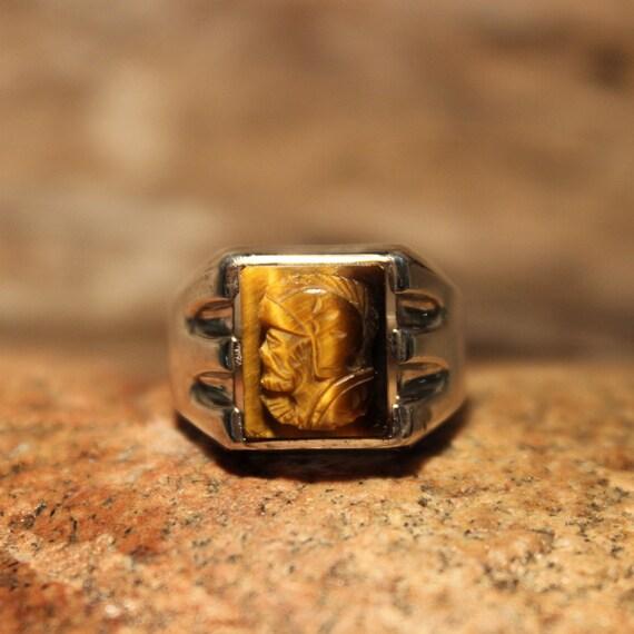 Vintage Intaglio Sterling Warrior Ring Roman Soldier Ring Tigers Eye Ring 10.2 Grams Size 9 Vintage Mens Sterling Ring Silver Warrior Rings