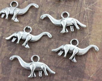 10 Dinosaur Charms Dinosaur Pendants Antiqued Silver Tone 3D 27 x 10 mm