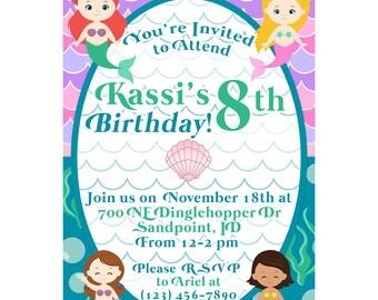 Little Mermaid; Under the Sea INVITATION Birthday Party Invitation; Little Mermaid Party; Little Mermaid Birthday; Mermaid party; Mermaid