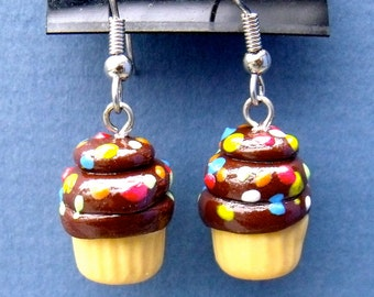 Polymer Clay Cupcake with Chocolate frosting and rainbow jimmies  Earrings