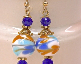 Vintage Chinese White Blue Porcelain Bead Earrings, Cobalt Blue Crystal Beads, Gold French Ear Wires - GIFT WRAPPED