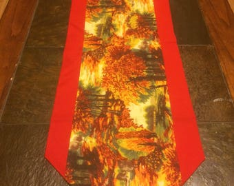 Autumn Table  Runner with Red Trim