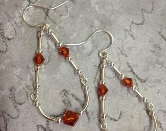 Dark Orange and Sterling Silver Earrings